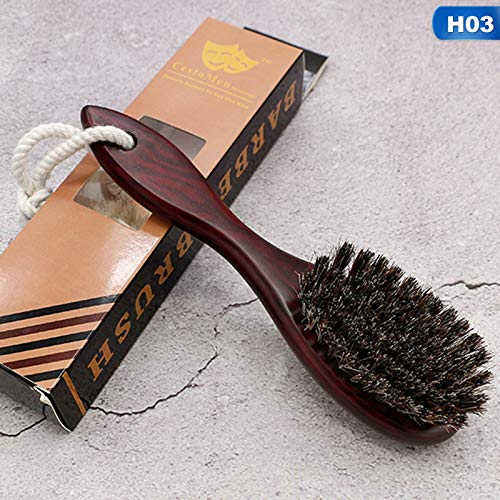 Moonnight Store Natural Soft Goat Bristle Hair Sweeping Brush Men Beard Comb Oval Wood Handle Barber Dust Brush For Broken Hair Cleaning Tool (03) ()