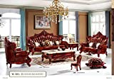 Ma Xiaoying Leather Sofas, Solid wood Frame carved by hands,European classical furniture,Traditional Living Room Furniture Set (Sofa, Loveseat and Chairs and all Pillows)