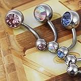 BODYA® pack of 5 double jewel surgical steel belly button navel barbells rings Body Piercing jewellery Bild 2