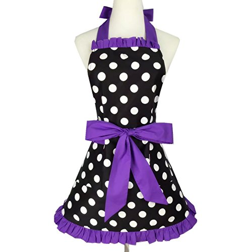 Aspire Kitchen Apron For Women Retro Polka Dots Cooking Aprons Cafe Working Aprons-Black Purple-M]()