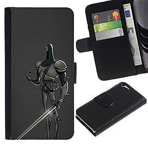 Be-Star la tarjeta de Crédito Slots PU Funda de cuero Monedero caso cubierta de piel Para Apple Iphone 5 / 5S ( Medieval Knight Fairy Tale Sword Hero )