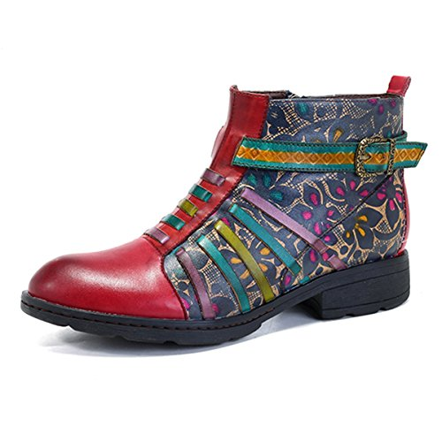 Rutsch Socofy Stiefel Blume Lederschuhe ANIT Kurzschaft Boot Komfort Damen Klassische Boots Kurz Ankle Stiefel Handmade Uq7rf6BUz