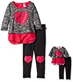 dollie me clothing - Dollie & Me Big Girls' Heart Applique Tunic Top and Leggings, Grey/Fuchsia, 8