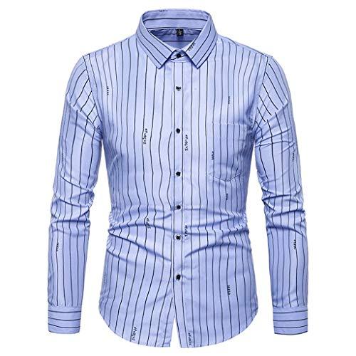 LEXUPA Men's Printed Long Sleeve Shirts Slim Comfortable Long Sleeve Shirt Blue -