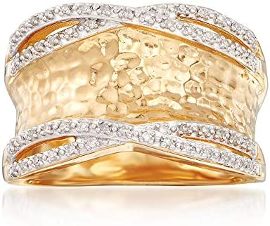 Ross-Simons 0.13 ct. t.w. Diamond Hammered Ring in 18kt Gold Over Sterling