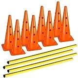 dog agility cones - AGORA Hurdle Cone Set - 8 Cones and 4 Poles