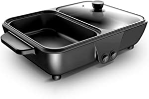l.e.i. Nonstick Electric Griddle,2-in-1 Indoor Grill Pan Hot Pot,Small Multifunctional Electric Cooker,Smokeless BBQ Grill Shabu Pot Cook Pot Temperature Control Black 30x22x8.5cm(12x9x3inch)