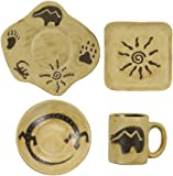 MARA STONEWARE COLLECTION - 16 Piece (4 Person) Odd Shaped Dinnerware Place Setting - Southwest, Gecko, Bear, Sun