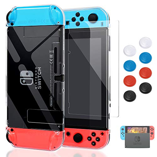 Case for Nintendo Switch,Fit The Dock Station, Protective Accessories Cover Case for Nintendo Switch and Joy-Con Controller - Dockable with a Tempered Glass Screen Protector,Crystal - Switch Cover
