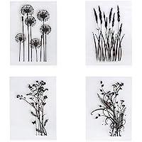 4 stks/set Paardebloem Lavendel Bloemen Bladeren Stempels Rubber Clear Stamp/Seal Scrapbook/Foto Decoratieve Kaart Maken…