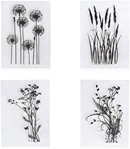 4 unids/set diente de león lavanda flores hojas sellos de goma claro sello/ sello scrapbook/foto decorativa tarjeta haciendo claro sello: Amazon.es: Hogar