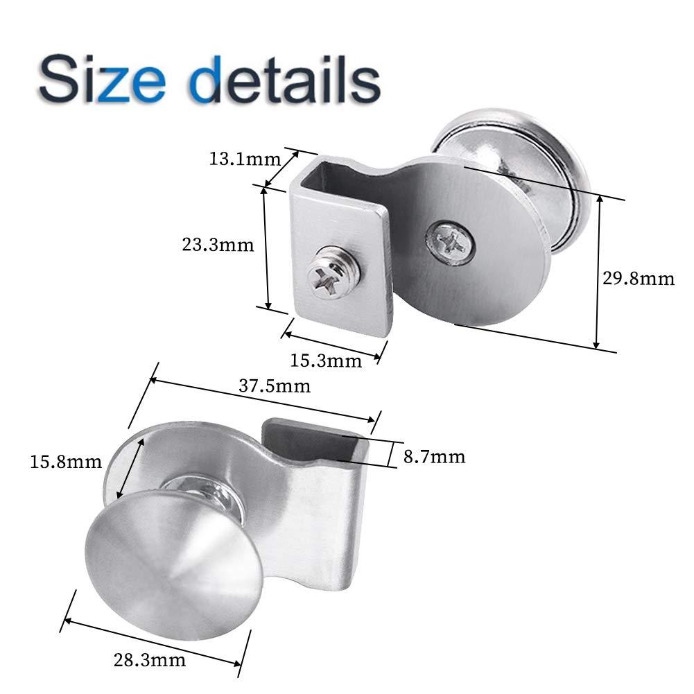 4 unidades, sin perforaciones, para puertas de cristal de 5 a 8 mm Tirador de puerta de cristal acero/_inoxidable INCREWAY