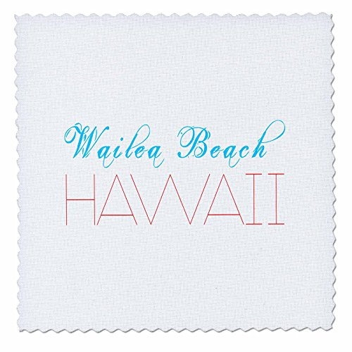 3dRose Alexis Design - American Beaches - American Beaches - Wailea Beach, Hawaii, blue, red colors - 12x12 inch quilt square (qs_272111_4) by 3dRose