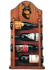 Michael Park BLACK AND TAN Doberman Pinscher Wine Rack 4 Bottle Dark Oak