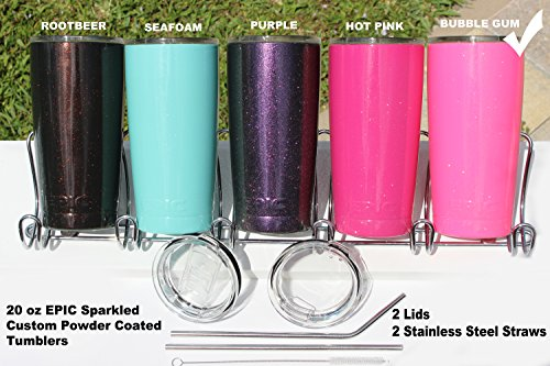 EPIC Sparkled Tumbler Stainless Steel Vacuum Insulated USA Custom Powder Coated Cup and Coffee Mug with 2 Lids and 2 Stainless Steel Straws, 20 oz - Pink Sparkle Tumbler
