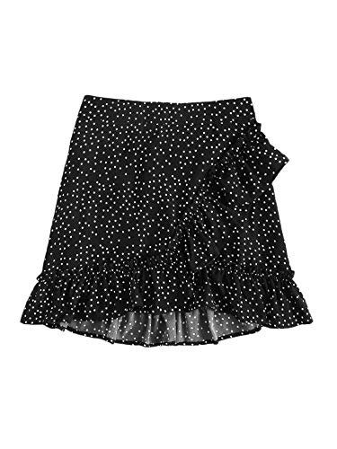SOLY HUX Women's Summer Boho Print Ruffle Hem Wrap Tie Waist Mini Short Skirt