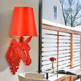 HOMEE Wall lamp- european modern led lace resin horse head wall lamp bedroom bedside creative simple living room hotel home wall lamp (color optional) --wall lighting decorations,C