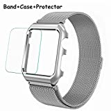 Wristel Compatible Apple Watch Band 38mm 42mm, Milanese Loop Stainless Steel Wristband Magnetic iWatch Strap Replacement with Metal Case and Screen Protector for iwatch Band Series 3, Series 2, Serie1
