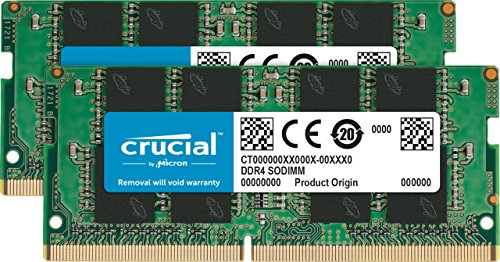 Crucial 32GB Kit (16GBx2) DDR4 2400 MT/s (PC4-19200) DR x8 Unbuffered SODIMM 260-Pin Memory - (Sodimm Memory Kit)
