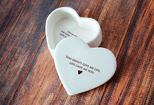 SHIPS FAST - Stepmother of the Bride Gift or Stepmother of the Groom Gift - Heart Keepsake Box - You didn't give me life, life gave me you - With Gift Box (Best Gifts For Stepmothers)