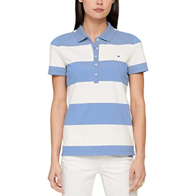 844fa366d5f Tommy Hilfiger Women's Cotton Striped Polo Top at Amazon Women's ...