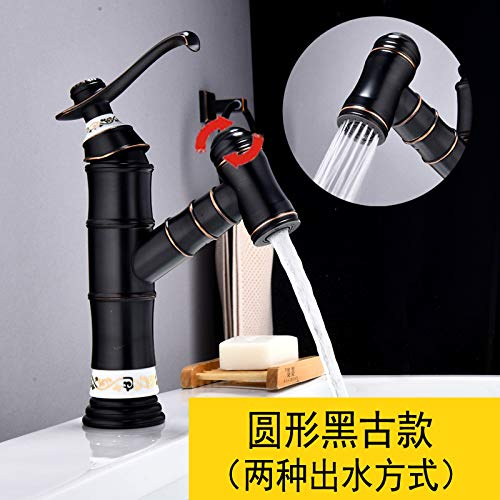 Pull Black American Copper Pull Basin Faucet Black Patina Basin Hot and Cold Faucet Sink Washable Head Telescopic Faucet, Pull Plating