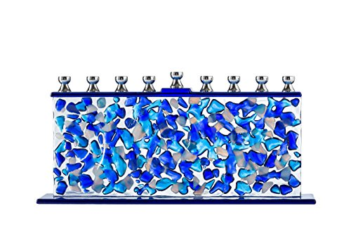Ner Mitzvah Glass Candle Menorah - Fits All Standard Chanukah Candles - Handcrafted Blue and White Confetti Glass]()
