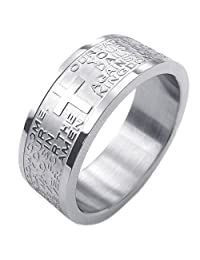 Konov Jewelry Mens Womens Stainless Steel Ring, English Lord's Prayer Cross, Silver, with Gift Bag, C23257