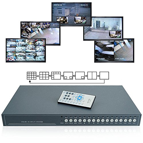 Toughsty™ 16Ch Realtime Color Video Multiplexer Processor CCTV Security Quad with Loop-through RS485