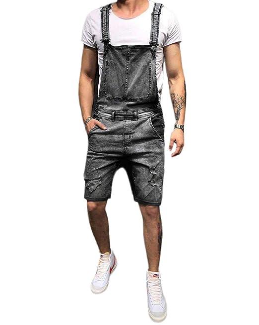 Peto para Hombre Vaqueros Rotos Jeans Pantalones Cortos ...