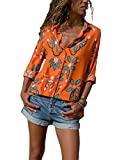HUUSA Flower Shirt for Women Elegant Business Long Sleeve Button Down V Neck Loose Blouse Top L Orange