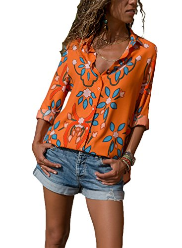 HUUSA Flower Shirt for Women Elegant Business Long Sleeve Button Down V Neck Loose Blouse Top L Orange by HUUSA