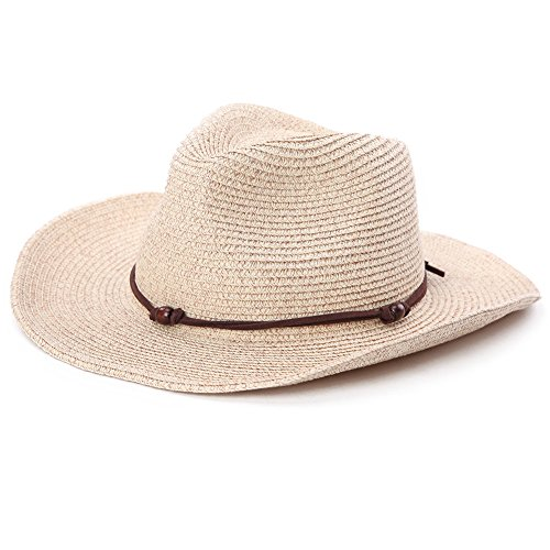 Fancet Mens Mexican Cowboy Hat Pacakable Western Straw Strap for Women Country Costume Beige 59cm ()