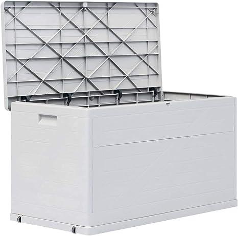 mewmewcat Caja de Almacenamiento de Jardín Baul Almacenamiento Capacidad 420 L Gris Claro 120 x 56 x 63 cm: Amazon.es: Deportes y aire libre