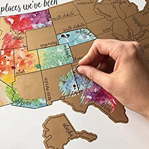 Amazoncom Been There Scratched That Watercolor United States - Us states i ve been to map