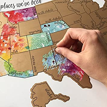 Amazoncom Been There Scratched That Watercolor United States - Watercolor us map