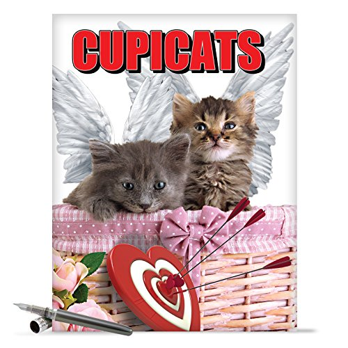 J2172 Jumbo Funny Valentine's Day Card: Cupicats With Envelope (Extra Large Version: 8.5'' x 11'')