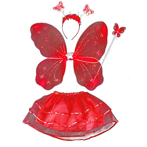 [BOBORA Kids Halloween Costume Props Butterfly Wing Wand Headband Tutu Skirt Set] (Red Halloween Kids Costumes)