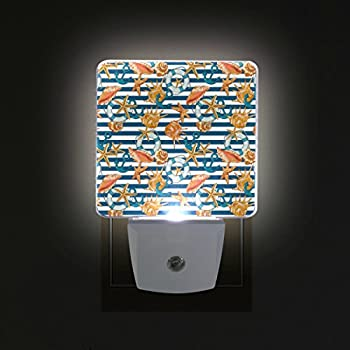 Alirea Wave Pattern With Nautical Symbols Plug In Led Night Light