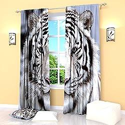 BlackWhiteBlueCurtains Tiger Stripe Window Drapes Treatment Curtain Panel Set Animal Print Bedroom Kitchen Living Room 84 Inches