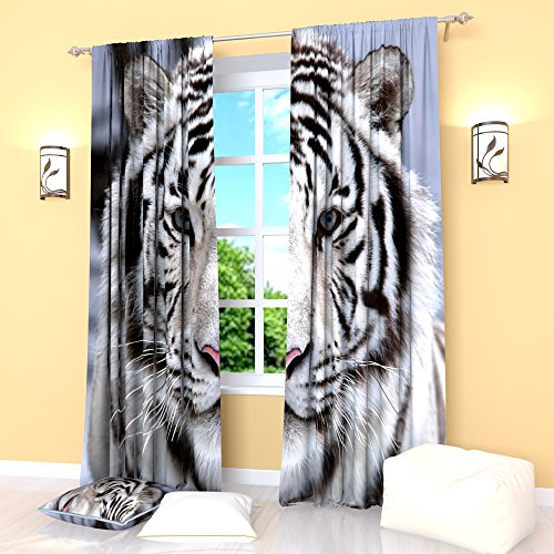 BlackWhiteBlueCurtains Tiger Stripe Window Drapes Treatment Curtain Panel Set Animal Print Bedroom Kitchen Living Room 84 Inches
