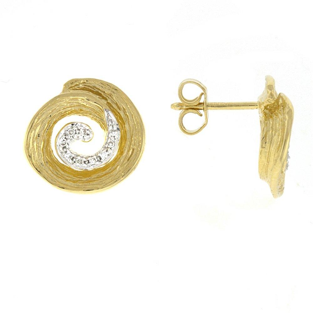 0.09ctw. Diamonds 14KT Yellow Gold Mixed Textures Earrings Pair
