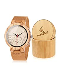 BOBO BIRD C19 Women Special Wood Watch with Red Secondhand Design + Brown Leather Band