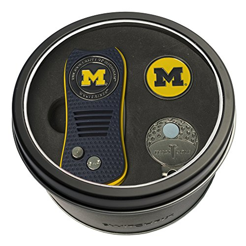 (Team Golf NCAA Michigan Wolverines Gift Set Switchblade Divot Tool, Cap Clip, & 2 Double-Sided Enamel Ball Markers, Patented Design, Less Damage to Greens, Switchblade Mechanism)