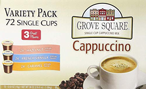 Grove Square Cappuccino Variety Pack, 72 Single Serve Cups (Limited Edition) ()