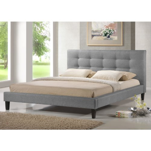 Baxton Studio Quincy Linen Platform Bed, Queen, Gray