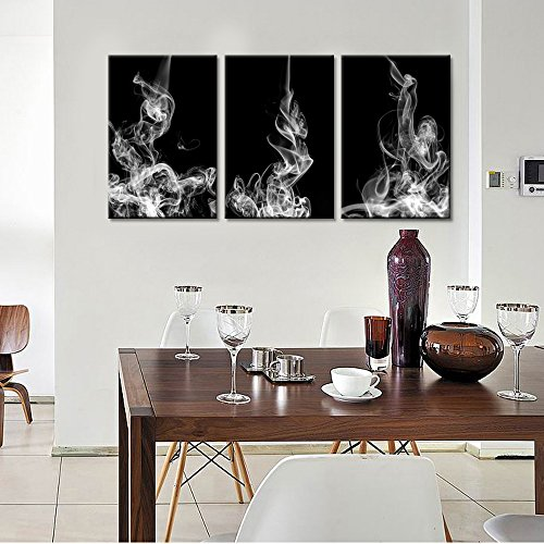 """Live Art Decor - Movement of Smoke,3 Pieces Modern Home Decoration Abstract Canvas Wall Art Beautiful White Smoke Canvas Prints Stretched and Framed Easy Hanging - 48\""""W x 24\""""H overall"""