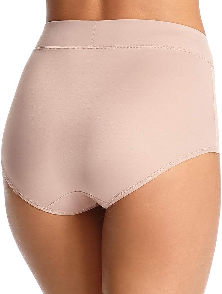 Warners Womens No Pinching Modern Brief Panty,Bodytone Polka Dot Print,10 Mocha No Problems