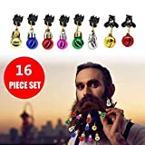 Gorgebuy Chrismas Jingle Bells Clips4 + Light Bulb Clips12 for Hair Beard Baubles - Colorful Body Ornaments for Dad, Santa Claus, Father