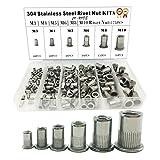 175PCS 304 Stainless Steel Rivet Nut Threaded Rivetnut Insert Nutsert(M3| M4| M5| M6| M8| M10)